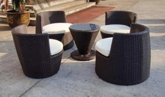 Salon de jardin resine tressee totem - Maison mobilier et design